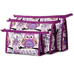XICHEN 3 in 1 cosmetic bag with Zipper for Vacation, Bathroo