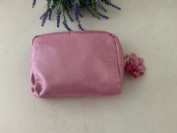 1 pc Lancome Pink Color Cosmetic Makeup Bag Case w/ rose