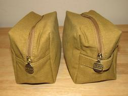 2 Origins Gold Brown Cosmetic Makeup Bag Canvas NEW Clutch T