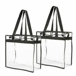 2-Pack Clear Transparent Tote Bag PVC w/Zipper Stadium Appro