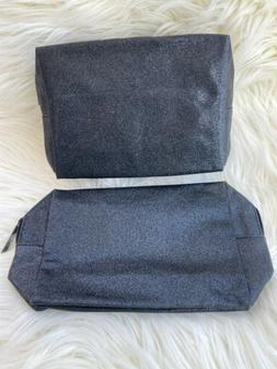 2 Pcs ~ Mac Cosmetic Skincare Makeup Bag In Black Glitter ~