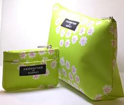 2 pcs Clinique Marimekko Cosmetic Bag Large + Small Green Fl