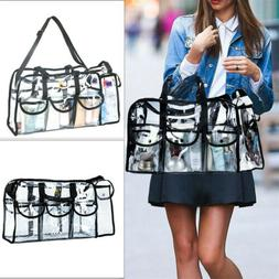 2-Way Transparent Lager Makeup Bag Comestic Toiletry Tote Ba