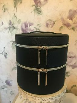 Lancome Round Black Cosmetic Makeup Bag TRAIN CASE Faux Leat