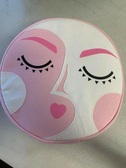 Benefit 2020 Brow Round Bag Pink Canvas Zipper Makeup Bag BN