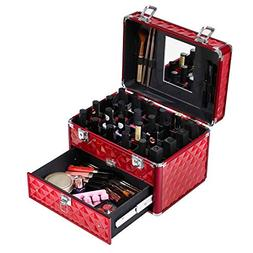 SONGMICS Makeup Train Case with 24 compartments Nail polish