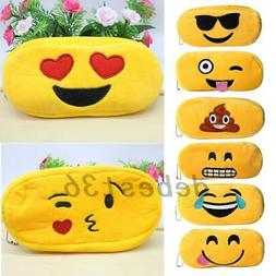 2pcs Cartoon Emoji Expression Plush Pencil Pen Case Cosmetic