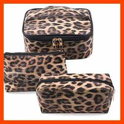 3 Pack Leopard Makeup Bag Travel Toiletry Portable Cosmetic