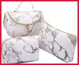 3 Pack Marble Makeup Bag Travel Toiletry Portable Cosmetic P