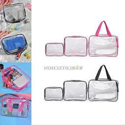 3pcs Clear Cosmetic Toiletry PVC Travel Wash Makeup Bag Hold