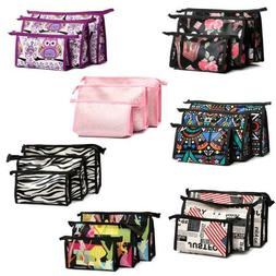 3Pcs Portable Cosmetic Toiletry Travel Wash Makeup Bag Holde