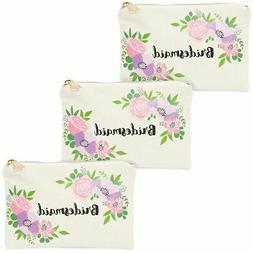 3x floral cosmetic makeup bags pouches holders