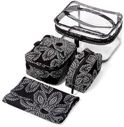 7205d78e93 Editorial Pick Vera Bradley 4 pc Travel Cosmetic Makeup Bag Set Blanco Bouq