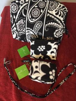 4 Piece Vera Bradley NIGHT AND DAY, Cosmetic Bag,Coin Purse,