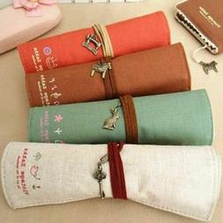 4Pcs Canvas Wrap Roll Up Pen Case Holder Pencil Bag Makeup B