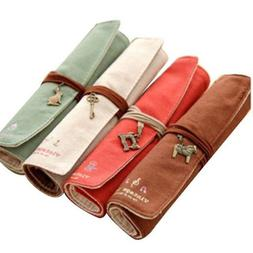 4Pcs Vintage Wrap RollUp Canvas Pen Pencil Case Makeup Bag S