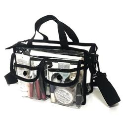 Clear cosmetic bag with removable and adjustable shoulder st