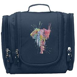 Travel Toiletry Bags Colorful Watercolor Ink Cute Elephant W