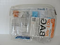 Travelon Zip Top Bag with Plastic Bottles, 1-Quart, Clear