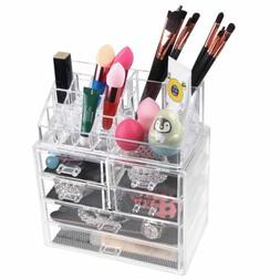 Acrylic Cosmetic Organizer Jewelry Makeup Case Storage Bag H