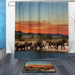 Franzibla African Elephant Pattern Print Shower Curtains 66