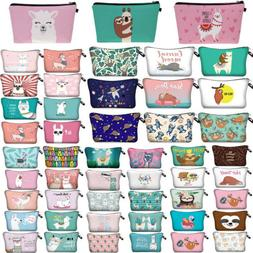 Alpaca Llama Print Cosmetic Bag Cartoon Travel Pouch Women S