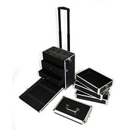 Z ZTDM Aluminum Rolling Makeup Train Case with Wheels & 8 Ke