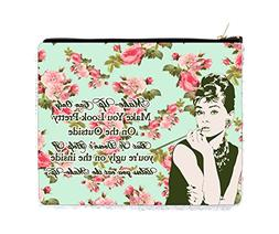 Audrey Hepburn Makeup Quote in Vintage Style Roses - 2 Sided