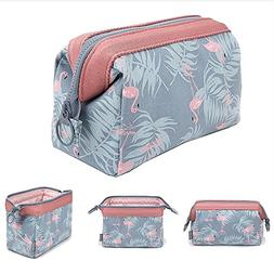 Makeup Bag Light Blue Flamingo Brush Organizer