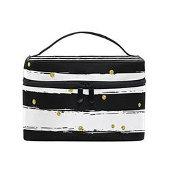 Cosmetic Bag Black And White Stripes With Gold Dot Print Wom