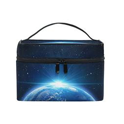 Cosmetic Bag Earth With Sunrise Galaxy Stars Women Makeup Ca