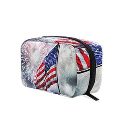 HU MOVR Cosmetic Bag Flag Fireworks Girls Makeup Organizer B