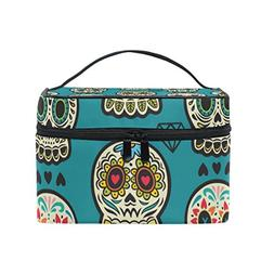 Cosmetic Bag Floral Skull Women Makeup Case Travel Storage O