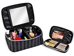 Makeup Bag With Mirror - Cosmetic Travel Train Case for Wome