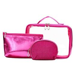 HOYOFO Cosmetic Travel Bag Set Clear PVC Toiletry Zip Makeup