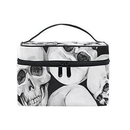 Cosmetic Bag Skull Skeleton Women Makeup Case Travel Storage