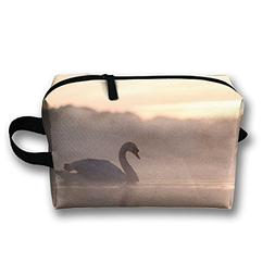 Michgton Cosmetic Bag Sunrise Swan Girl Cartoon 3D Printing