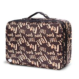 Large Makeup Cosmetic Bag Train Cases with Removable EVA Div