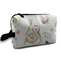 Makeup Bag Tropical Leaves Sloth Handy Travel Multifunction
