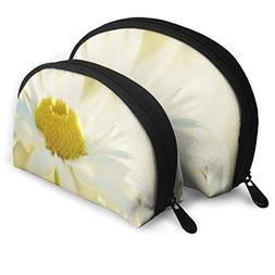 Makeup Bag White Petals Yellow Flower Portable Shell Travel