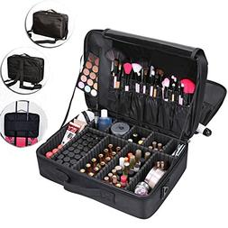 Lumcrissy Professional 3 layer Makeup Train Case Cosmetic Or