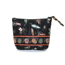 VERA BRADLEY Black Fishing Lures Small Cosmetic Case Makeup