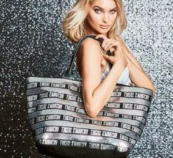 Victoria's Secret Black Friday Tote Large Black and Silver S