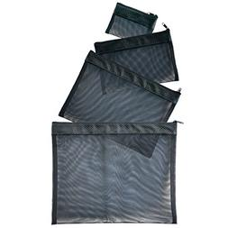 Black Multi Purpose 4 Piece Mesh Bag Set for Travel, Office