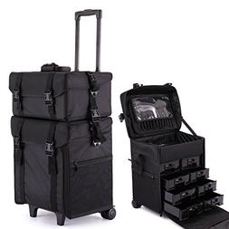 LAZYMOON Black 2 in 1 Soft Rolling Makeup Travel Train Case