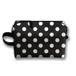 Leisue Black White Bohemian Polka Dot Cosmetic Bag Zipper Ma
