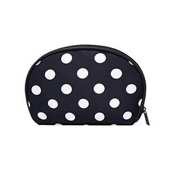 ALAZA Black and White Polka Dot Half Moon Cosmetic Makeup To