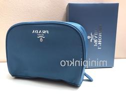 Prada Blue Fabric Cosmetic Makeup Toiletry Pouch Bag Case Do
