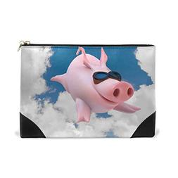ALAZA Blue Sky Cute Pig Piggy Flying Makeup Cosmetic Bag Pou