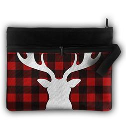 ESP Buffalo Plaid Moose Cosmetic Pouch Cosmetic Toiletry Mak